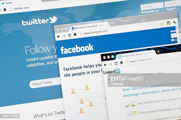 Linkedin.com Twitter.com, Facebook.com y páginas de inicio