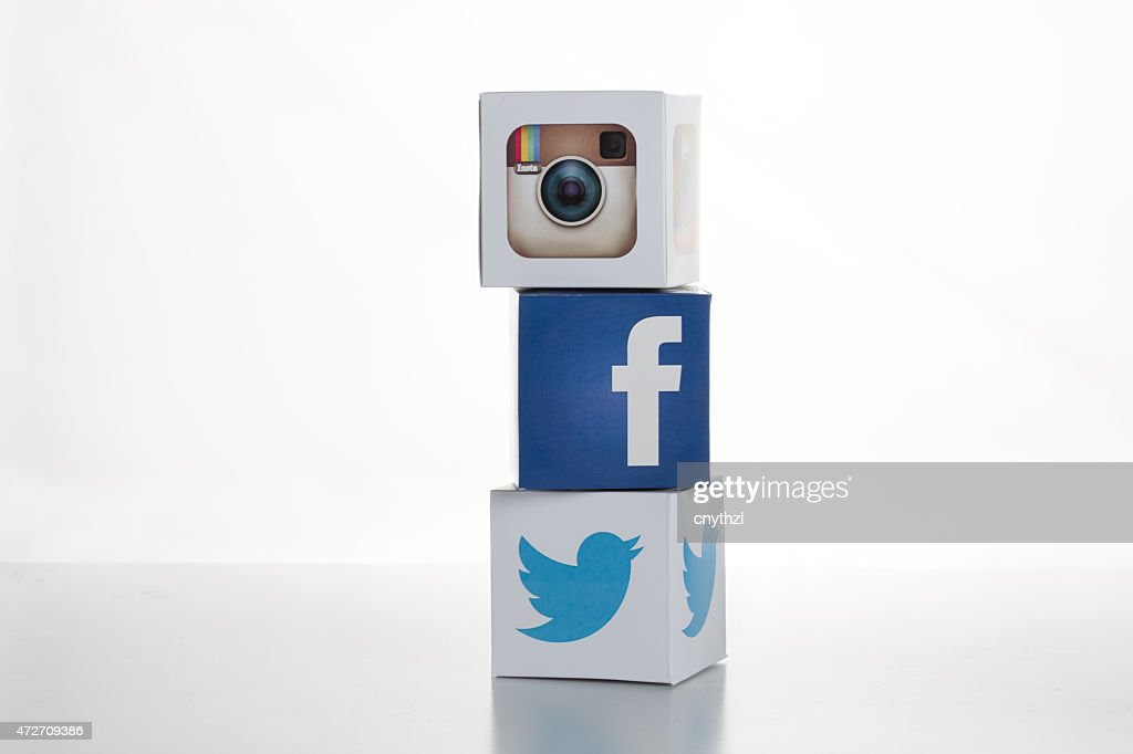 Twitter,Facebook,Instagram Logos on Cubes : Stock Photo