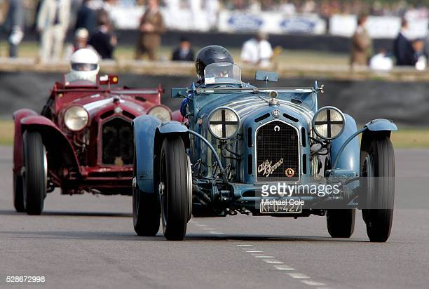 Two 1933 Alfa Romeo 8C 2300 Monza cars competing in the Brooklands Trophy driven by entrants Klaus Werner and Hugh Taylor