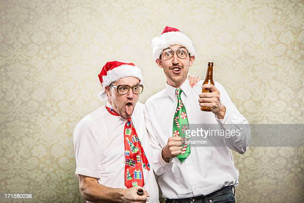 two 2 drunk goofy Christmas Tie wearing Party Nerds