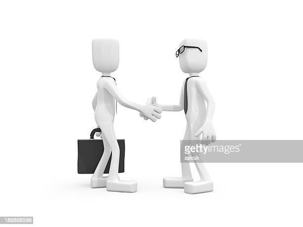 Two 3D businessmen hands shaking each other.