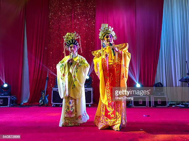 Two actors performing Cantonese opera during Chinese New Year celebration at Foshan Guangdong province China February 18 2015
