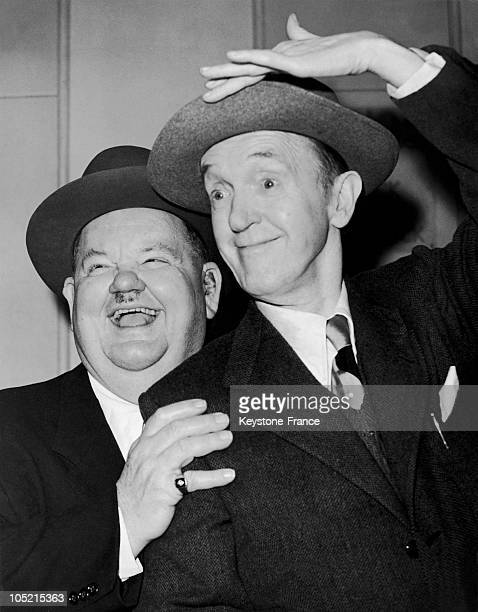 Two Actors Stanley Laurel And Oliver Hardy Comedy Playing On The Queen Mary In Southampton England January 28 1952