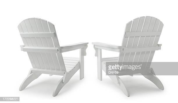 two adirondack chairs - outdoor chair stock pictures, royalty-free photos & images
