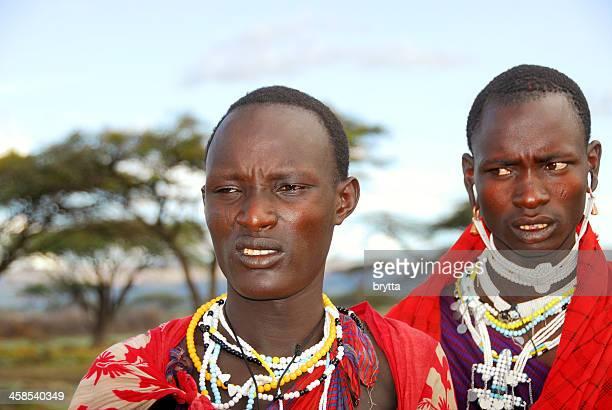 Two African Masai warriors in Ngorongoro Conservationa Area,Tanzania