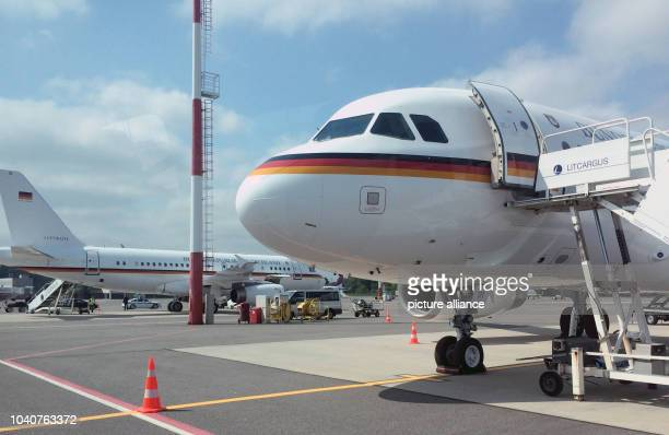 Two Airbus A319 of the Luftwaffe Flugbereitschaft at the airport of Vilnius Lithuania 26 May 2016 German Minister for Foreign Affairs Steinmeier had...