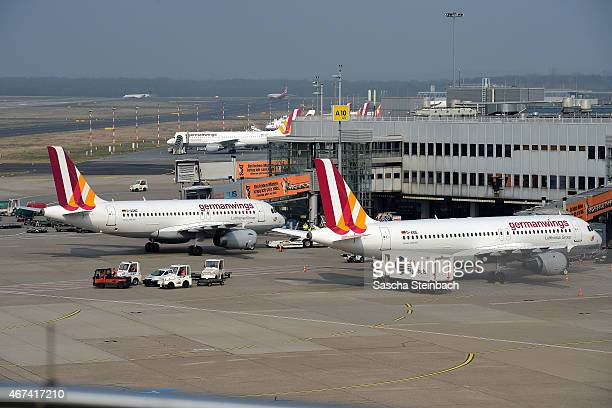 Two airplanes from the type Airbus A319100 and Airbus A320200 of the German airline Germanwings stand the airfiled at Duesseldorf International...