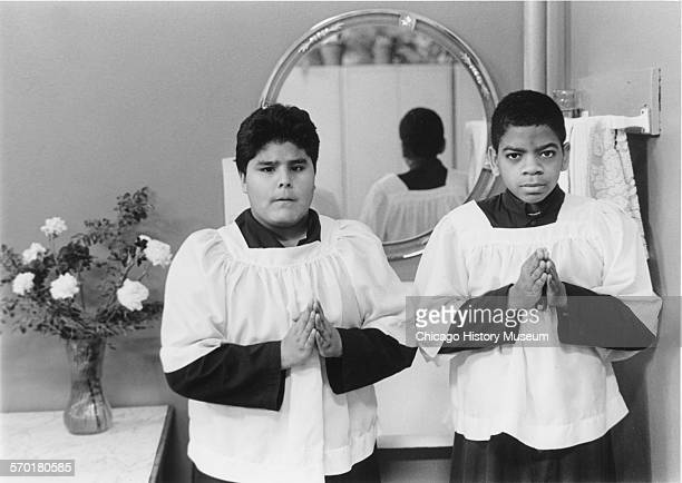 Two altar boys in religious dress from St Michael's School 82 South Shore Drive Chicago Illinois circa 1987