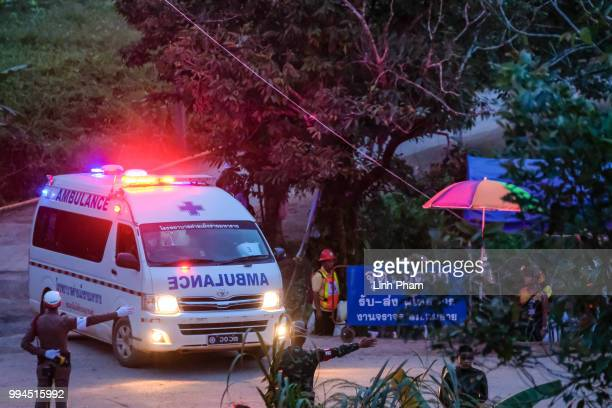 Two ambulances carrying the sixth and seventh boys freed from the Tham Luang Nang Non cave site to a hospital in Chiang Rai on July 9 2018 in Chiang...