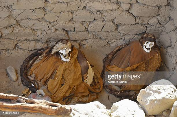 Two Ancient Mummies at Chauchilla Cemetery, Nazca
