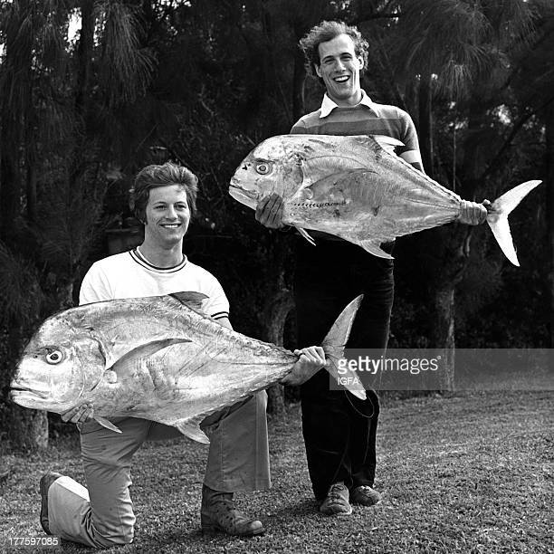 Two anglers pose with African pompano one 28 pounds and the other 40 pounds The fish were caught in waters near Hamilton Bermuda on January 16 1976
