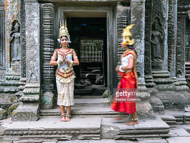 two apsara khmer dancers, angkor wat, cambodia - apsara stock photos and pictures