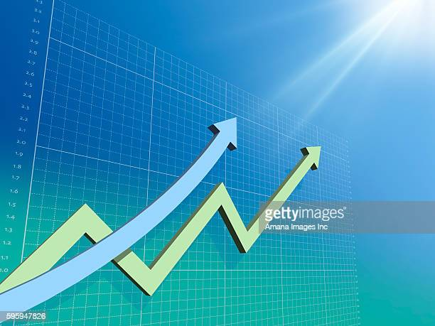 Two Arrows Going Upward in Line Chart and Blue Background
