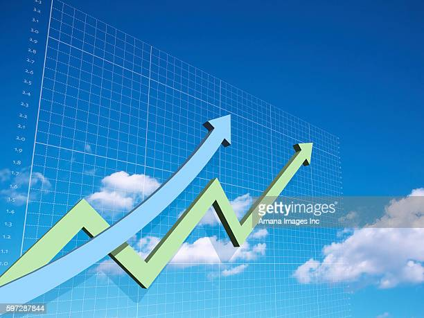 Two Arrows Going Upward in Line Chart and Blue Sky Background