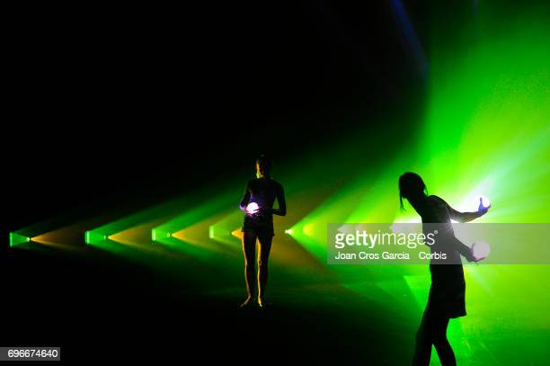 Two artists making the performance Sonar Planta during the first day of Sonar Music Festival on June 15 2017 in Barcelona Spain