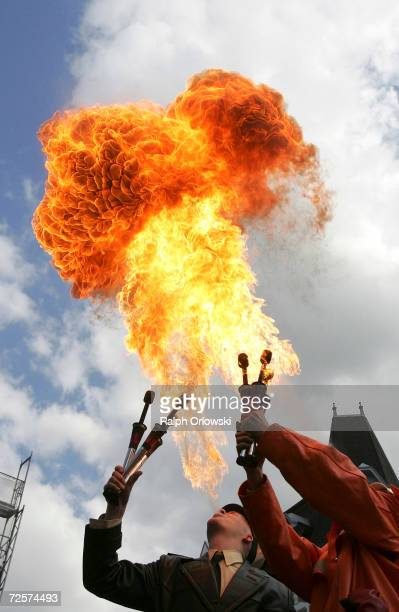 Two artists perform during an election rally on May 12 2005 in Herford Germany Ten days before Germany's most populous state will have elections...