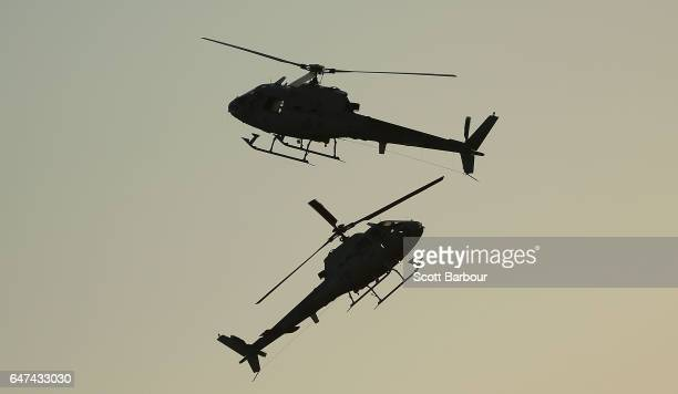 Two AS350BA Squirrel Helicopters perform durng a RAN Helicopter Formation demonstration at The Australian International Airshow on March 3 2017 in...