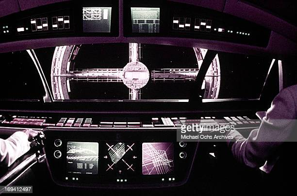 Two astronauts command the ship in a scene from the film '2001 A Space Odyssey' 1968