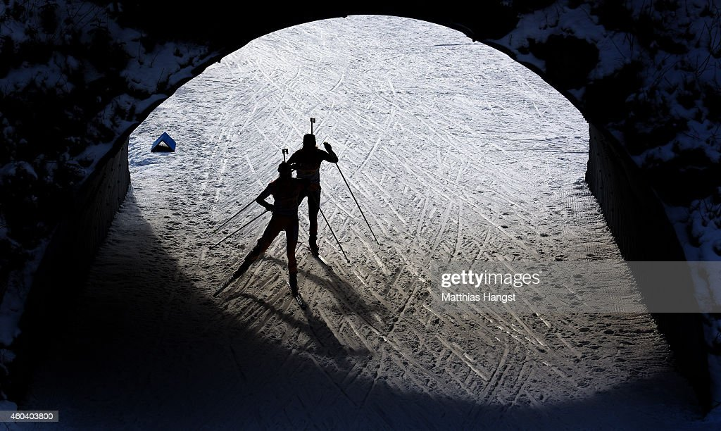 Two athletes compete during the women 4 x 6 km relay event in the IBU Biathlon World Cup on December 13, 2014 in Hochfilzen, Austria.