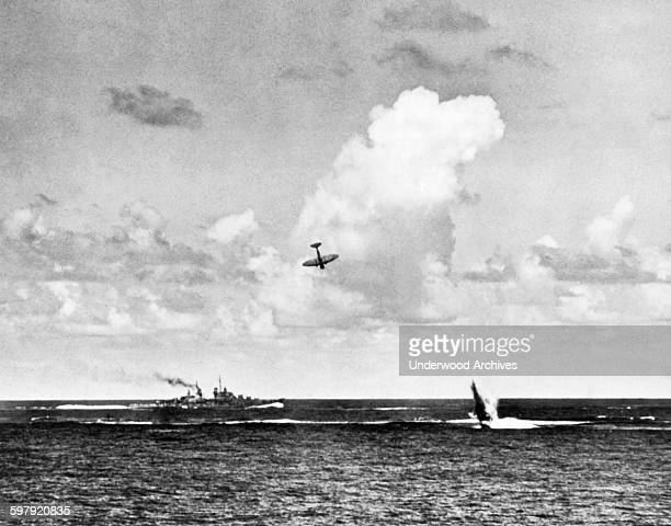 Two attacking Japanese airplanes are shot down in the Battle of the Santa Cruz Islands, Santa Cruz Islands, Solomon Islands, October 1942. One has...