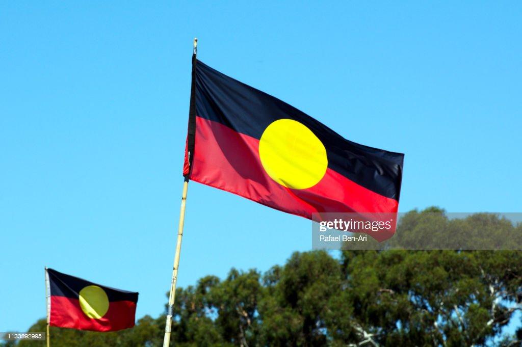 Two Australian Aboriginal Flag : Stock Photo