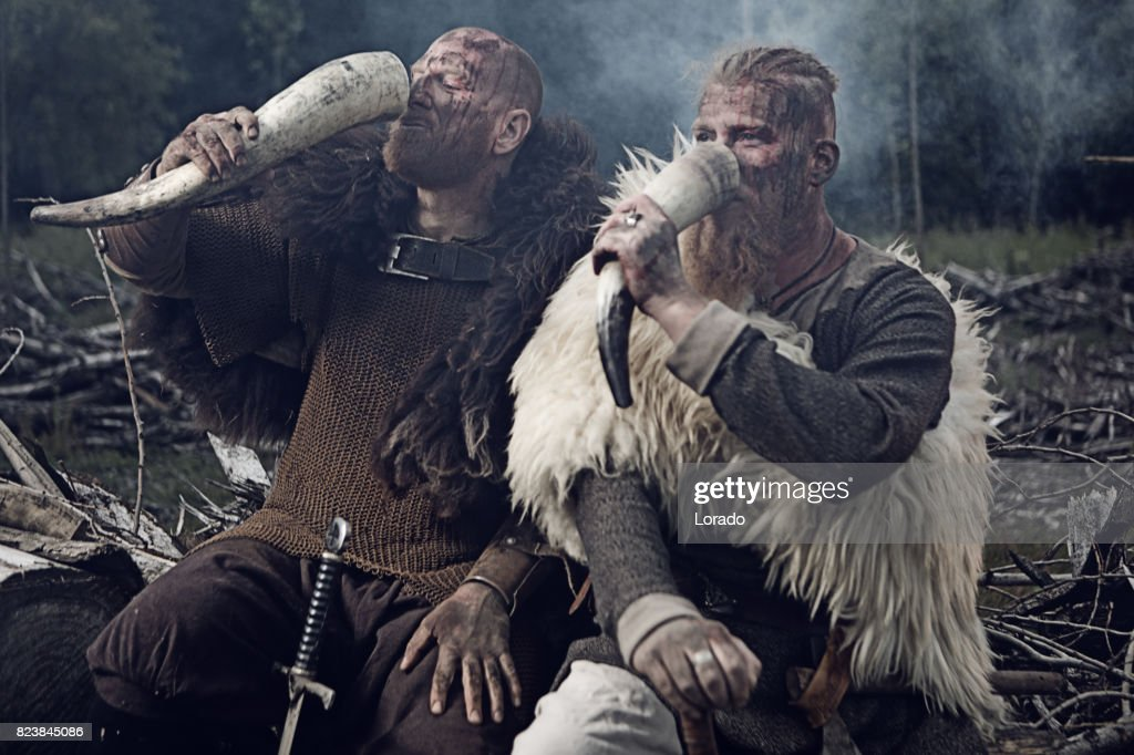 Two Authentic Caucasian Bearded Viking Warriors in Outdoor Forest Setting : Stock Photo