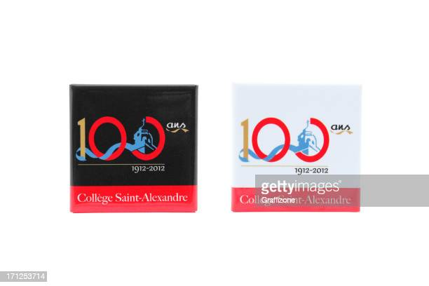 two badges 100 th of the college st-alexandre - 100th anniversary stock pictures, royalty-free photos & images
