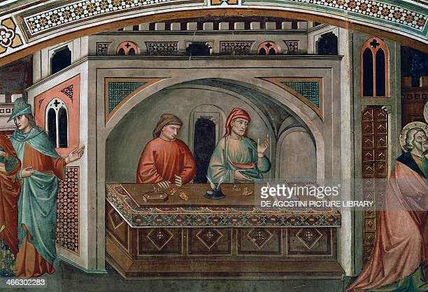 Two bankers detail from the Life of St Matthew fresco by Niccolo di Pietro Gerini Migliorati Chapel Church of San Francesco Prato Italy 15th century