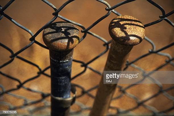 Two Bats Leaning Against Fence, High Angle View, Close Up, Differential Focus