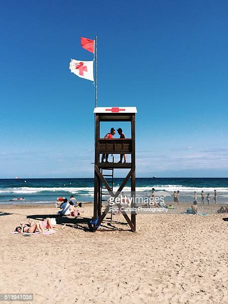 two Baywatch red cross on the beach La Pineda Tarragona