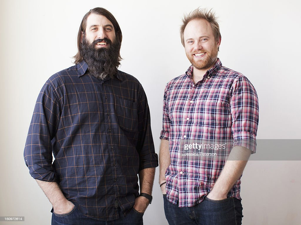 Two bearded males posing together : Foto de stock