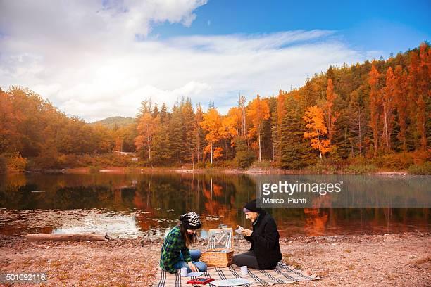 Two beautiful girl, relax in the mountain