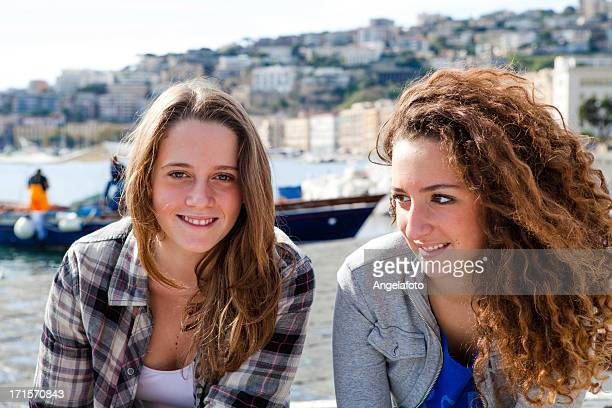 Two Beautiful Girls on Naples Promenade, Italy