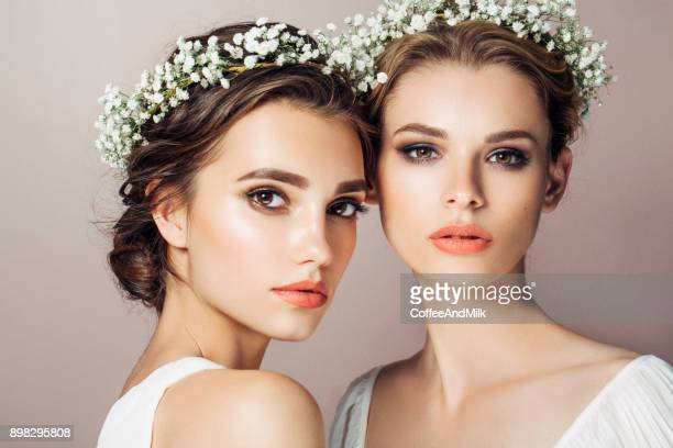 two beautiful girls - pretty girls stock photos and pictures
