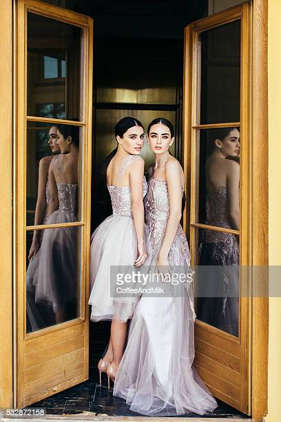 two beautiful girls wearing dresses - haute couture stock pictures, royalty-free photos & images