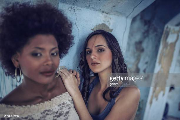 two beautiful stylish young cuban woman outdoors