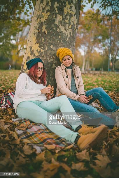 Deux belles jeunes femmes navigation sur un ordinateur portable dans un parc