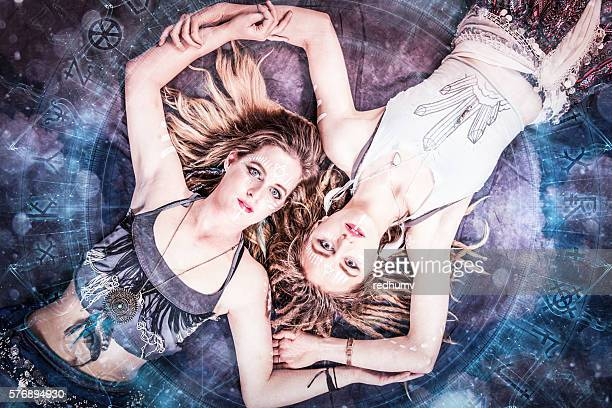 Two Beautiful Young Women Digital Shamanism Concept