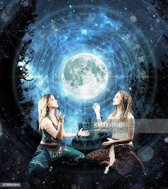 Two Beautiful Young Women Digital Shamanism Concept