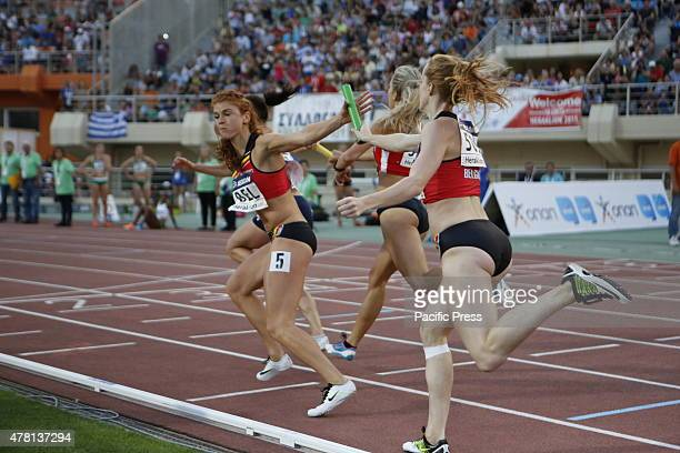 STADIUM HERAKLION ATTICA GREECE Two Belgian 4 × 100 metres relay runners pass the baton at the 2015 European Athletics Team Championships 1st League...