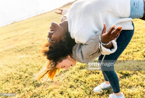 Two best friends having fun outdoors