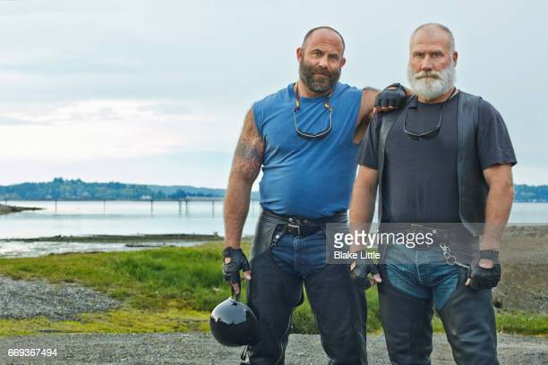 two bikers horizontal crop - macho stock pictures, royalty-free photos & images