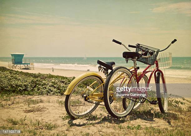 Two bikes at beach