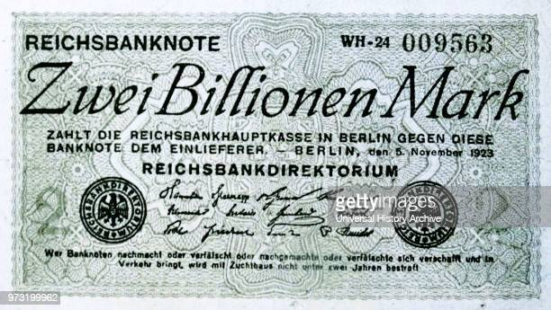Two Billion Reichsmark banknote issued 5th November 1923 by Germany's Central Bank during the Hyperinflation period