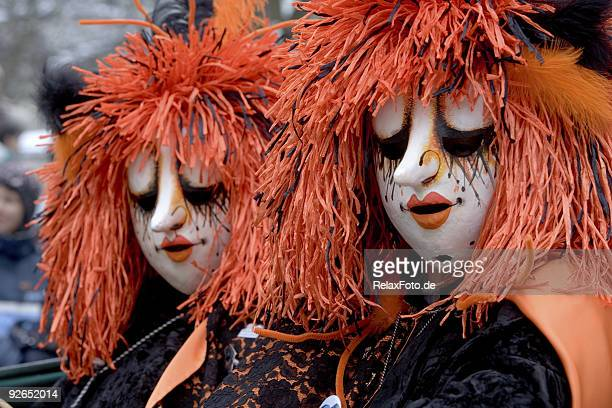 two bizarre female masks at fasnacht festival in basel (xxl) - basel switzerland stock pictures, royalty-free photos & images