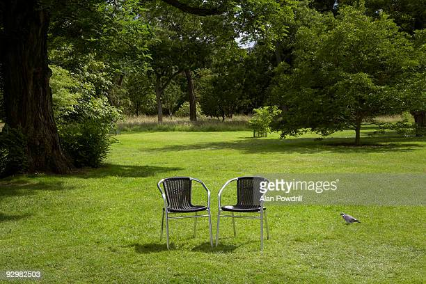 Two black garden chairs on grass