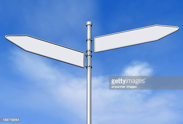 two blank signs on a signpost against blue sky - directional sign stock pictures, royalty-free photos & images