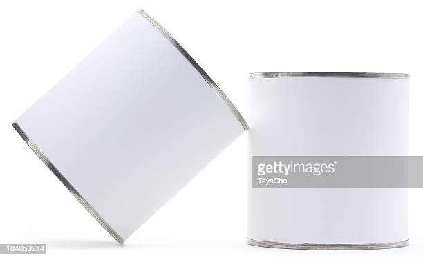 Two blank tin cans isolated