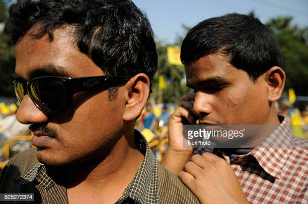 Two blind protesters during the occasion of World Disability Day in Kolkata, India.
