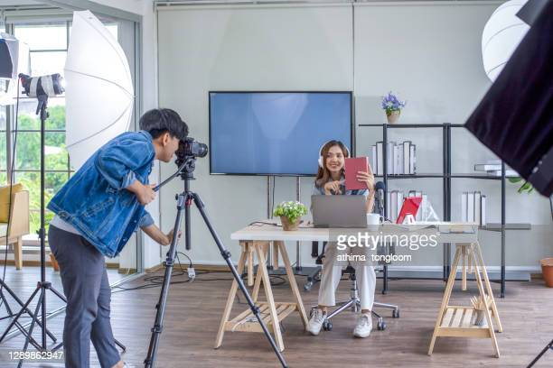 two blogger review in front of the camera to recording vlog video live streaming at home.business online influencer on social media concept - live broadcast stock pictures, royalty-free photos & images